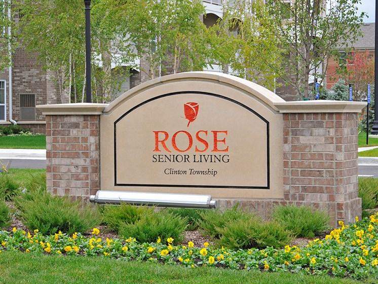 Entrance Sign at Rose Senior Living – Clinton Township, Michigan, 48038