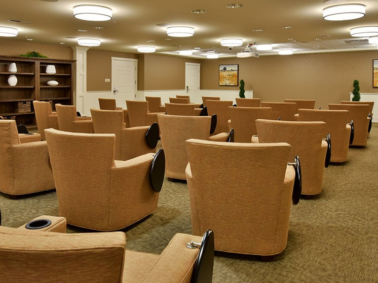 Movie Theater With Comfy Seats at Rose Senior Living at Providence Park, Novi
