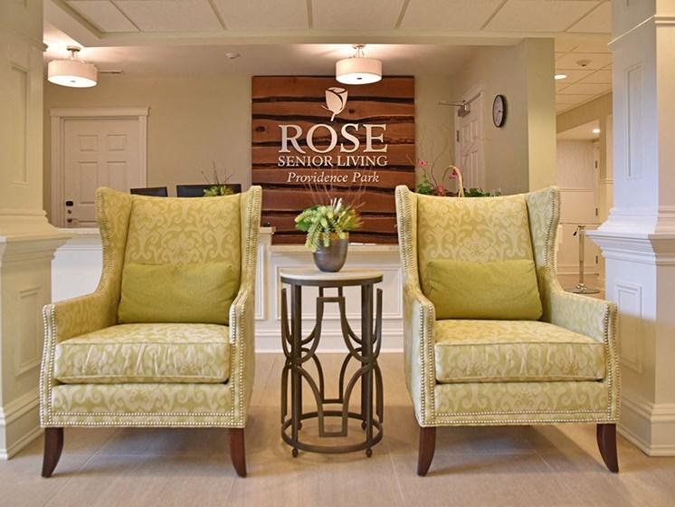 Reception Lobby at Rose Senior Living at Providence Park, Michigan, 48374