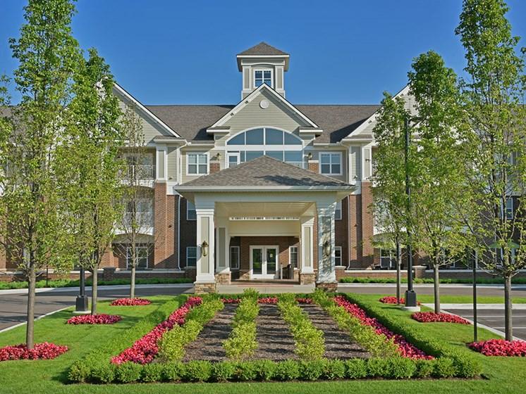Exterior Entrance and Gardens at Rose Senior Living at Providence Park, Novi, MI, 48374