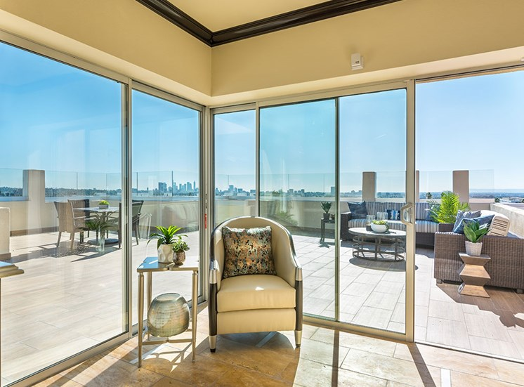 Rooftop Lounge at Hollywood Hills, A Pacifica Senior Living Community, Los Angeles, CA