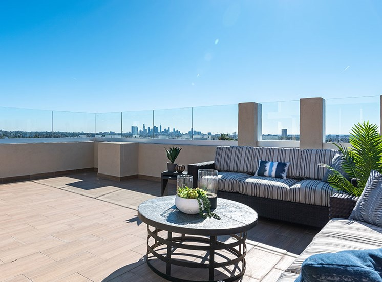 Rooftop Terrace Seating at Hollywood Hills, A Pacifica Senior Living Community, Los Angeles, 90028
