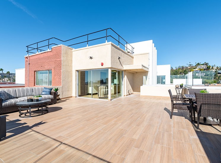 Rooftop Deck at Hollywood Hills, A Pacifica Senior Living Community, Los Angeles, California
