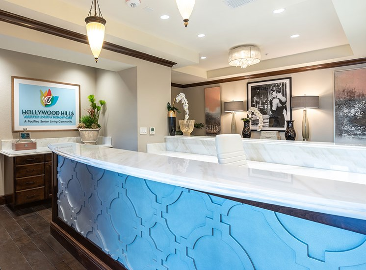 Welcoming Reception Area at Hollywood Hills, A Pacifica Senior Living Community, Los Angeles, 90028
