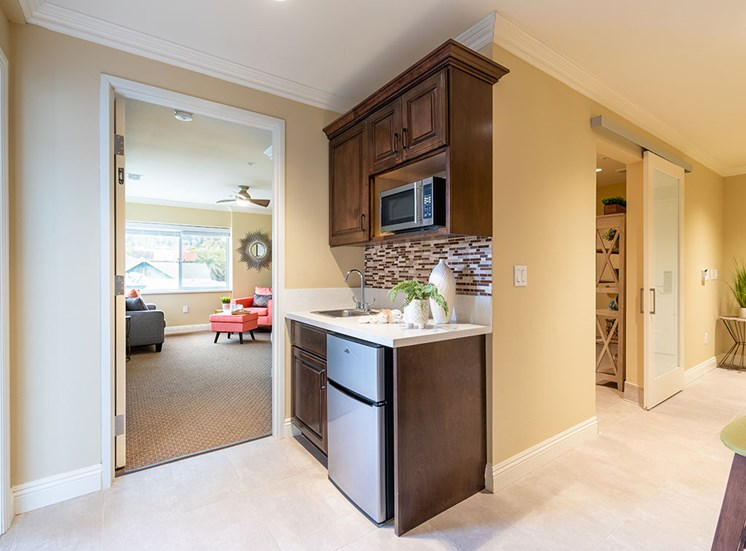 Refridgerator With Ice Maker at Hollywood Hills, A Pacifica Senior Living Community, Los Angeles, CA, 90028